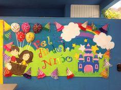 Dia del niño School Murals, Murals For Kids, School Displays, Class Displays, Kindergarten Crafts, School Decorations, Child Day, Cuisines Design, Kids Education