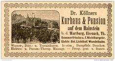 Original-Werbung/Inserat/ Anzeige 1892 : DR.KÖLLNER'S KURHAUS UND PENSION AUF DEM HAINSTEIN a.d.WARTBURG  ca. 45 X 90 mm
