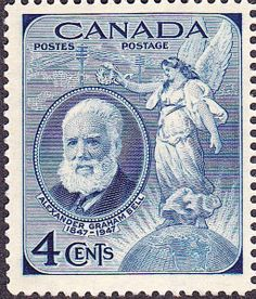 1947 Canadian blue .4¢ stamp commemorating the 100th anniversary of the birth of Canadian Alexander Graham Bell in 1847