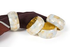 Mother of Pearl Elegant Rounded Inlay Metal Napkin Ring