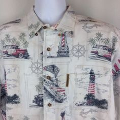 Clearwater Outfitters Hawaiian Shirt Aloha Mens Size Large Patriotic Print #ClearwaterOutfitters #Hawaiian