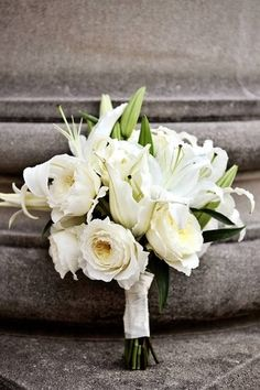 White Rose And Lily Bouquet by Eden Florals