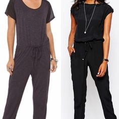 HP //D k• G r e y • J u m p s u i t • N W O T// Great jumpsuit to wear for many occasions. TRANSITION TO FALL. (LEFT SIDE IS ACTUAL JUMPSUIT) Features short sleeves that are sheer/ black. Jumpsuit is more DK Grey. Round neck. Drawstring waist with metal grommets on the ends. Tapered legs. Keyhole fastens in the back with a silver button. 55% Rayon 41% Polyester 4% Spandex. NWOT. -No trades HP Pants Jumpsuits & Rompers