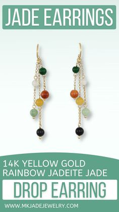 Amazing drop earring style! 3.5-4mm multi-color jade beads on 14K yellow gold dangles with shepherds hooks. Perfect for anyone & for any occasion. Use discount code INSTA10JORDAN at checkout! Jade Earrings, Yellow Earrings, Drop Earrings, Jade Beads, Fashion Earrings, Dangles, Rainbow, Jewels, Etsy