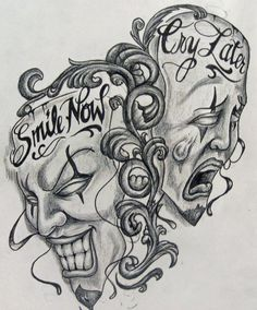 laugh now smile cry later evil satan skulls