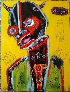 Changed by Matt Sesow - 2008 Painting Inspiration, Art Inspo, Jm Basquiat, Basquiat Paintings, Arte Obscura, Art Brut, Art Moderne, Naive Art, Street Art Graffiti