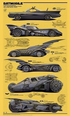 Every batmobile ever. Le Joker Batman, Superman, Batman Car, Batman Batmobile, Batman Poster, Batman Artwork, Batman Robin, Gotham Batman, Batman Wallpaper
