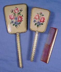 Vintage ENGLISH Vanity Dresser Boudoir Ladies Set 3 Piece Made in England Hair Brush, Hand Mirror & Comb
