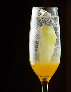 Taicang (from the Andaz Shanghai)    Combine 3/4 ounce Prosecco, 1 ounce mandarin reduction infused with cloves, and 1 thin slice of fresh ginger in a champagne flute.