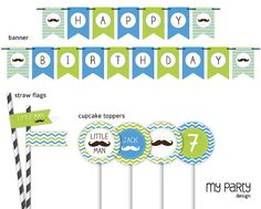 Mustache / Little Man Birthday Party  PRINTABLE by mypartydesign