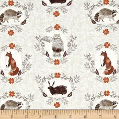 Designed by Rae Ritchie for Dear Stella Designs, this cotton print fabric highlights the forest's most adorable creatures. Perfect for quilting, apparel and home decor accents. Colors include mint green, cream, shades of grey and brown, burnt orange, white, black and taupe.