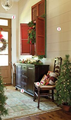Christmas at Paula Deen's/ love the red shutters! Would be cute on an old window w/ mirrored panes!