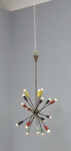 Anonymous; Brass and Enameled Metal Ceiling Light, Attributed to Stilnovo, c1950.