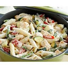PHILADELPHIA Creamy Pasta Primavera Allrecipes.com  veggies/ cream cheese/chicken/ italian dressing