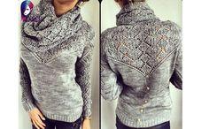 Пуловер с воротником-шаль.Спицы