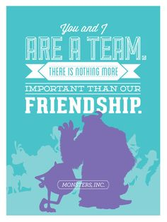 Disney  Monsters Inc. Friendship Poster 12x16 Art by bar10design, $19.00