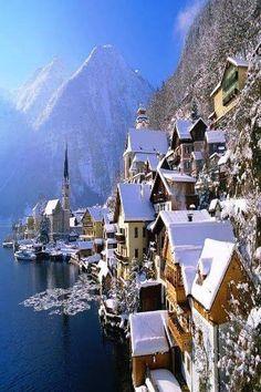 Hallstatt covered in snow, Austria