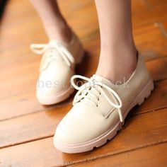 New Fashion Womens Casual Elegant Lace Up Round Toes Flats Block Heel Shoes Size #Unbranded #Oxfords
