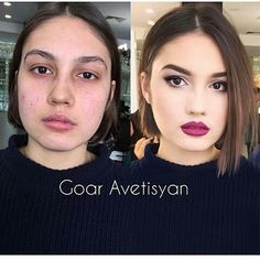 """Adoro estes """"antes e depois""""  by @goar_avetisyan #maquiagem #makeup #antesedepois"""