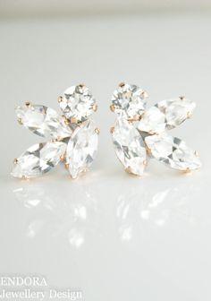 Bridal earrings,crystal bridal earrings,clear crystal earrings,swarovski earrings,navette earrings,marquise earrings,swarovski wedding,clip