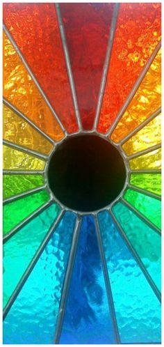 stained glass rainbow by frannieredman Love Rainbow, Taste The Rainbow, Rainbow Colors, Vibrant Colors, Rainbow Stuff, Rainbow Glass, Mosaic Glass, Stained Glass, Glass Art