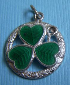 Vintage English Enamel Clover in Circle Sterling Charm | eBay
