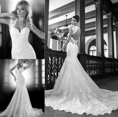 Va Va Voom! Fenghuavip Elegant Queen Anne Neck White Long Wedding Dress Mermaid. $229 USD