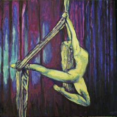 """Aerial Artist 2""  Original oil painting on canvas by Saskatoon, SK artist Michelle Durell  Painting: 20w x 20h x0.5d ""    This painting was created entirely left-handed (the artist's non-dominant hand) after experiencing a right shoulder injury while training in alternative aerial fitness. https://www.etsy.com/listing/126238567/aerial-artist-2-original-oil-painting-on?"