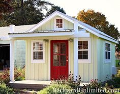 12'x14' Garden shed with Metal Roof, Board & Batten Siding, Custom Door, and Custom 6'x12' Porch http://www.backyardunlimited.com/sheds.php