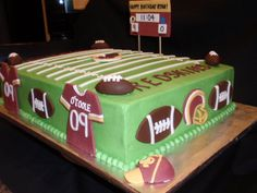Redskins football cake i am up for it Football Desserts, Football Cakes, Football Decor, Redskins Football, Football Field, Football Team, Teen Cakes, Cakes For Boys, Birthday Themes For Boys