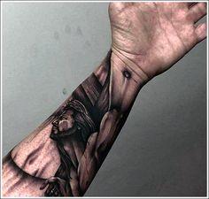 100 Jesus Tattoos For Men - Cool Savior Ink Design Ideas. Jesus On Cross Mens Wrist And Forearm Tattoo. Cross Tattoos For Womens Hand Jesus Hand Tattoo, Jesus Forearm Tattoo, Jesus On Cross Tattoo, Hand Tattoos, Jesus Tattoo Design, Tattoos Arm Mann, Cross Tattoo For Men, Arm Tattoos For Guys, Forearm Tattoos