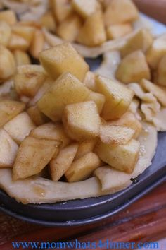 Mini Apple Pies - use 2-3 Granny Smiths and the streusel topping. Baked 45 minutes in regular muffin tins and they came out great.