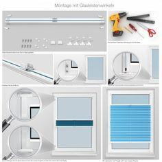 Montage mit Glasleistenwinkeln:    Mit vielen Bildern erfolgt die Montage viel einfacher. Detaillierte Informationen zur Montage mit Glasleistenwinkeln finden Sie unter: http://www.plissee-zeit.de/MontagemitGlasleistenwinkeln.php