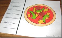 """Pizza Cutting Shapes Activity This activity addresses fine motor skills and scissor cutting. Children cut out the shapes, or toppings, for a pizza and then glue them onto paper. The gluing of """"toppings"""" requires in-hand manipulation skills, pincer grasps, and visual-motor coordination."""