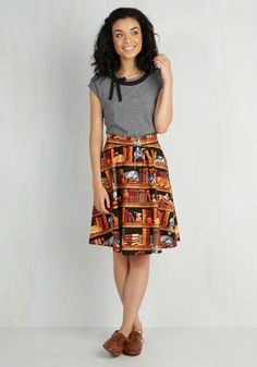 Fun for the Books A-Line Skirt - Print with Animals, Novelty Print, Casual, Cats, Nifty Nerd, Critters, A-line, Brown, Pockets, High Waist, Summer, Fall, Cotton, Woven, Better, Brown, Mid-length, Quirky, Gifts2015, Colorsplash, Work, Store 1