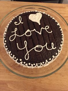 Leftover chocolate cake layer redecorated as a love note!