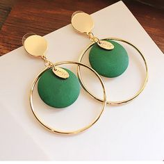 Korean Fashion Vintage big circle circular wooden Statement Cheap Earrings Women Party Holidays Trendy Earrings