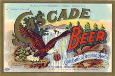 Cascade Beer label from Acme, c. 1933
