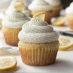 Fluffy sugar-free cupcakes bursting with lemon flavor are topped with whipped cream cheese frosting. The perfect low carb dessert for keto diets.