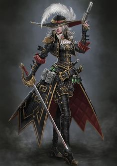 Steampunk Concept Art Character Inspiration 51 New Ideas Female Character Design, Character Design Inspiration, Character Art, Pirate Art, Pirate Woman, Pirate Queen, Fantasy Art Women, Fantasy Girl, Fantasy Witch