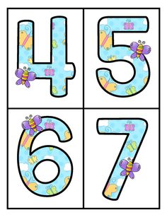 FREE Large numbers flashcards with a spring butterflies theme. Use to make centers and games and for room décor. Butterfly Classroom Theme, Garden Theme Classroom, Classroom Themes, Shapes Flashcards, Number Flashcards, Numbers Preschool, Preschool Activities, Preschool Kindergarten, Beach Activities