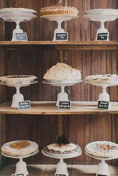 pie bar What's better than wedding cake? An entire bar filled with an assortment of decadent pies, of course! Perfect for an autumn affair. Pie Bar Wedding, Dessert Bar Wedding, Wedding Sweets, Wedding Cupcakes, Dessert Bars, Dessert Table, Wedding Favors, Wedding Reception, Wedding Tables