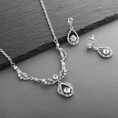 Silver Rhodium Plated Crystal Bridal Jewelry Set Silver Bridal Jewellery, Prom Jewelry, Bridal Jewelry Sets, Wedding Jewelry, Silver Jewelry, Bridal Bracelet, Bridal Earrings, Dangle Earrings, Modern Jewelry