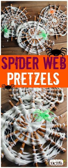 Pretzels - Easy Halloween Treat for Kids Spider Web Pretzels - These are such a fun and easy Halloween treat. Perfect treat for a Halloween party.Spider Web Pretzels - These are such a fun and easy Halloween treat. Perfect treat for a Halloween party. Halloween Cupcakes, Dessert Halloween, Halloween Treats For Kids, Halloween Goodies, Holiday Treats, Easy Halloween Cakes, Halloween Kitchen, Spooky Treats, Healthy Halloween