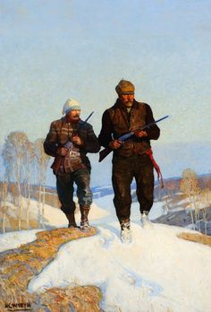 N. C. WYETH (1882-1945) Deer Hunters (1924), oil on canvas 41.5 × 28.75 inches Sold at Auction: $380,250