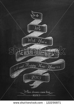 Vintage Merry Christmas And Happy New Year Calligraphic And Typographic Background With Chalk Word Art On Blackboard by Invisible Studio, vi...