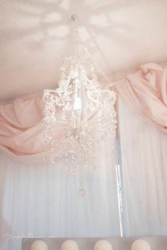 Pink Walk in Closet & Beauty Room Reveal Plug In Chandelier, Chandelier Bedroom, Dog Room Decor, Room Ideas Bedroom, Bed Room, Chanel Inspired Room, Bathroom Makeup Storage, Cube Storage Shelves, Closet Storage