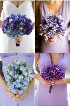love this idea of having each bride's maid with a different bouquet made up of one type of the bride's flowers