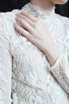 white high neck lace blouse