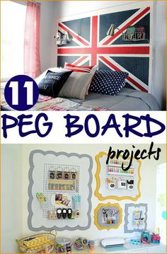 Peg Board Projects.  Awesome ways to organize the garage, bedroom, craft room and more.